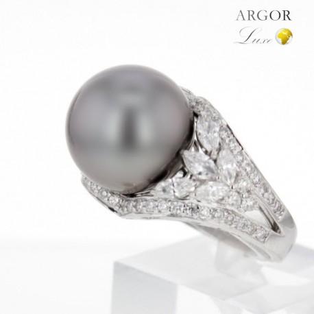 Bague Or blanc Perle et Diamants
