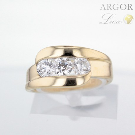 Bague Or jaune trilogie Diamants