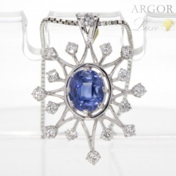 Pendentif Or blanc Tanzanite Diamants