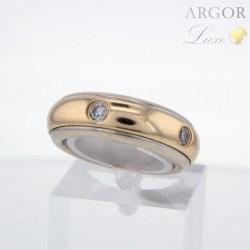 Bague Or double anneaux diamants