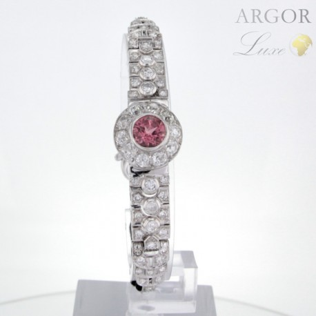 Bracelet Or blanc Tourmaline rose Diamants