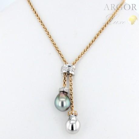 Collier Cravate Or perles Tahiti