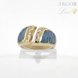 Bague Or jaune Opale Diamants