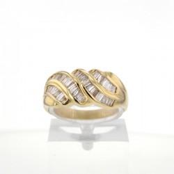 Bague occasion Or Jaune Diamants baguettes