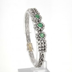 Bracelet occasion Or blanc Emeraude Diamants