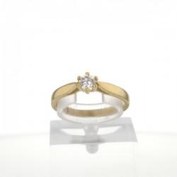 Bague solitaire Or jaune 18K diamant 0.2 carat