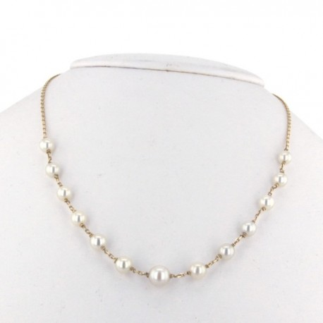 Collier Or jaune 18K et perles blanches