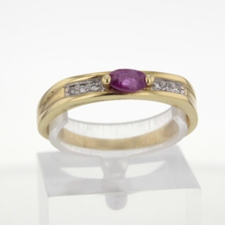 Bague Or jaune 18K Rubis et diamants