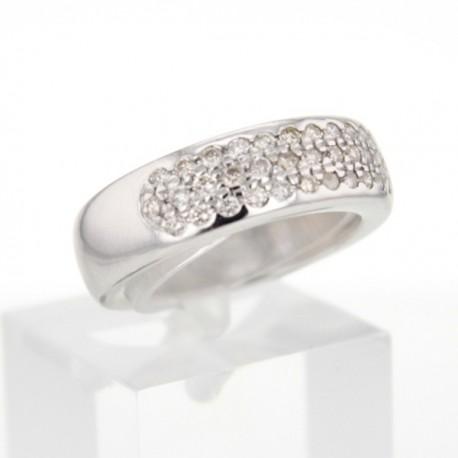 Bague Or blanc pavage diamants