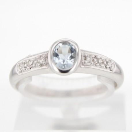 Bague Or blanc Aigue-marine et diamants