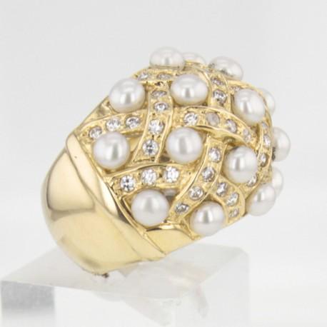 Bague Or jaune perles et diamants