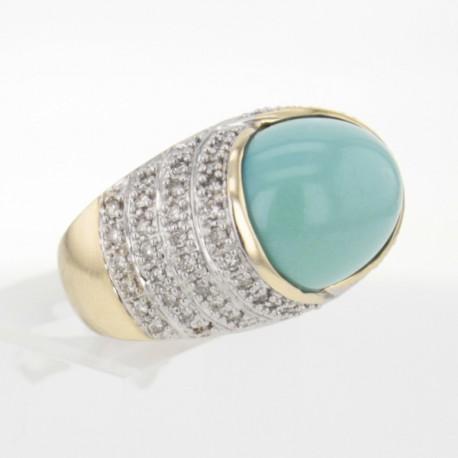 Bague Or Jaune Turquoise Diamants