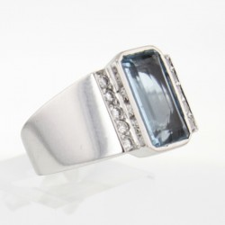Bague Or blanc Aigue-marine diamants