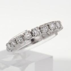 Bague demi-alliance Or blanc 18k diamants