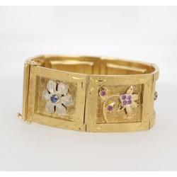 Bracelet 2 Ors saphirs et rubis