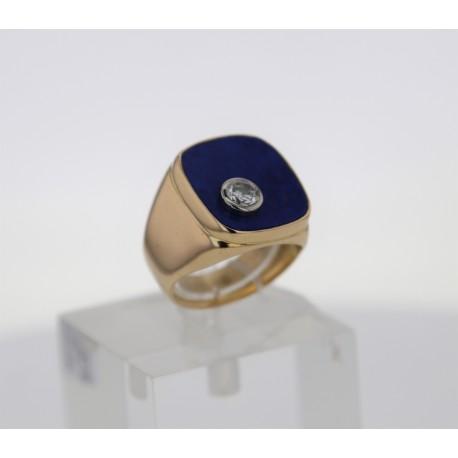 Bague Or jaune Lapis lazuli diamants