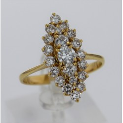 Bague Marquise Or jaune 18K et diamants