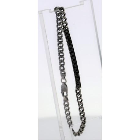 Bracelet Or rhodié diamants noirs