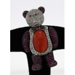 Broche pendentif Or blanc rubis corail diamants
