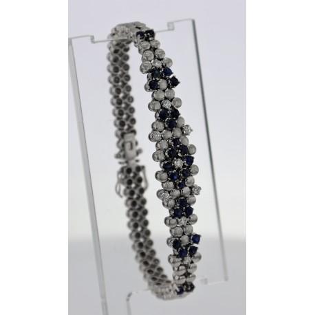 Bracelet Or blanc saphirs et diamants