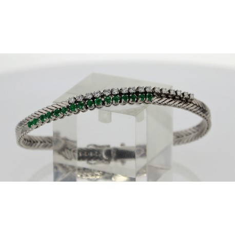 Bracelet Or blanc Emeraudes diamants