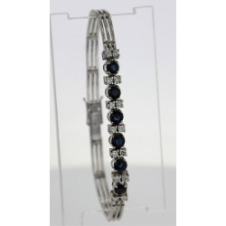 Bracelet Or blanc saphirs diamants