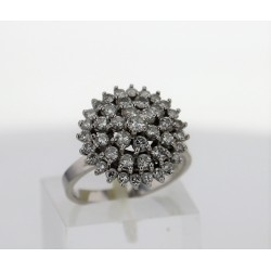 Bague fleur Or blanc 18k diamants
