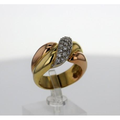 Bague 3 Ors 18k pavage diamants