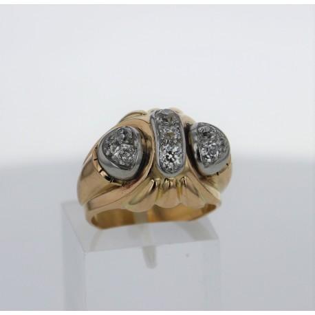 Bague Or jaune 18k pavages diamants