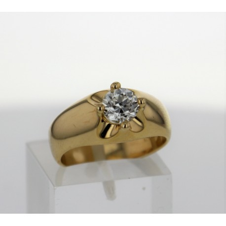 Bague solitaire Or jaune 18k diamant