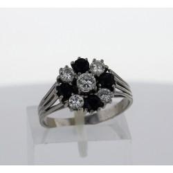 Bague Or blanc 14k saphirs diamants