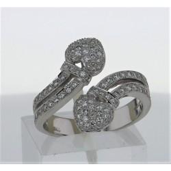 Bague Or blanc 18k pavages diamants