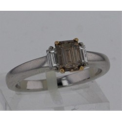 Bague Solitaire accompagné Or blanc 18K diamants