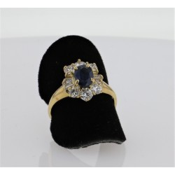 Bague Or jaune 18K saphir diamants