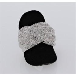 Bague croisée Or blanc 18K pavages diamants