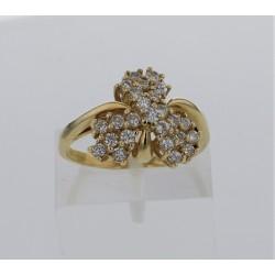 Bague Or jaune 18K  24 diamants