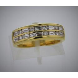 Bague Or jaune 18K  diamants baguettes et brillants