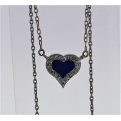 Pendentif Or blanc 18K lapis lazuli diamants