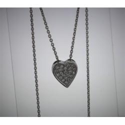 Pendentif Coeur Or blanc 18K diamants