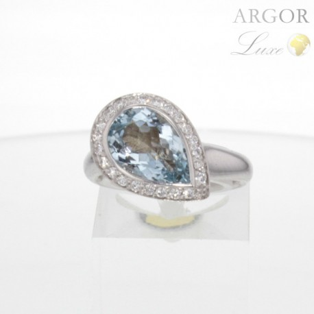 Bague Or aigue-marine diamants
